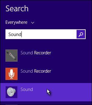 Поиск меню звука в Windows 8